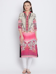 Shree Women Pink & Black Printed Straight Kurta
