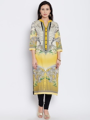 Shree Women Yellow & Off-White Printed Straight Kurta