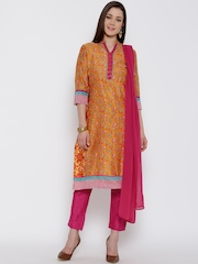 Biba Mustard Yellow & Pink Floral Print Kurta with Trousers & Dupatta