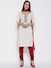 Biba Off-White & Maroon Embroidered Churidar Kurta with Dupatta