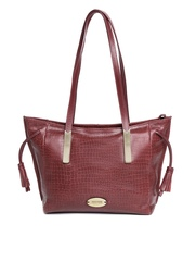 Hidesign Maroon Croc Textured Leather Shoulder Bag