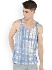 Atorse Blue & White Printed Innerwear Vest W16SND007XL