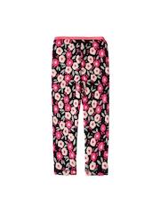 Weedots Girls Black & Pink Floral Print Ankle-Length Leggings