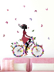 Aspire Multicoloured Bicycle with Flowers & Girl Wall Sticker