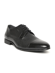 Lee Cooper Men Black Perforated Genuine Leather Formal Shoes