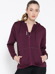 Reebok Magenta WOR Zip Hooded Training Jacket