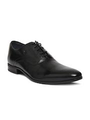 Louis Philippe Men Black Leather Oxford Shoes
