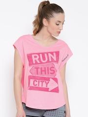 Reebok Women Pink RE TRND Printed V-Neck Running T-shirt