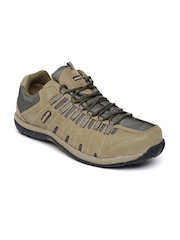 Woodland Men Khaki & Olive Green Leather Sneakers