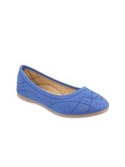 Mochi Women Blue Solid Ballerinas