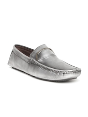 ID Men Silver-Toned Solid Regular Loafers