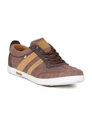 ID Men Brown Perforated Sneakers