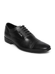 Provogue Men Black Textured Leather Derbys