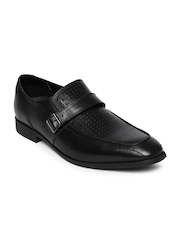 Provogue Men Black Perforated Leather Monks