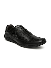 Buckaroo Men Black Perforations Leather Sneakers