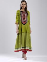 W Women Green Printed Anarkali Kurta