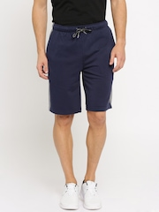Puma Men Navy & Grey Melange Regular Fit Sports Shorts