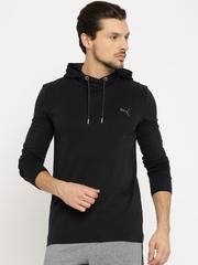 Puma Men Black Solid Hood T-Shirt
