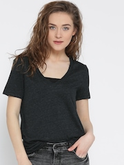 FOREVER 21 Women Charcoal Grey Solid V-Neck T-shirt