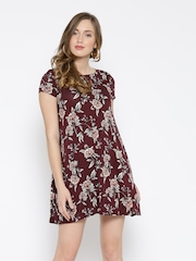 FOREVER 21 Women Burgundy Printed A-line Dress