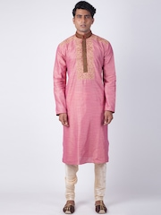 Sanwara Men Pink Solid Silk Straight Kurta
