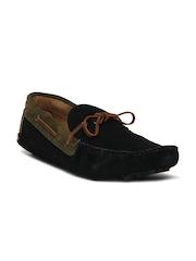 Knotty Derby Men Black Colourblocked Suede Driving Shoes
