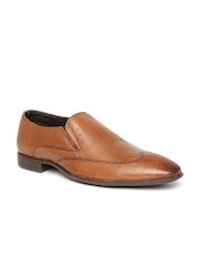 Lee Cooper Men Tan Brown Leather Semiformal Slip-Ons