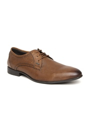Lee Cooper Men Brown Leather Textured Formal Shoes