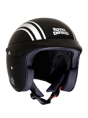 Royal Enfield Black & White Printed & Striped Open Face Helmet