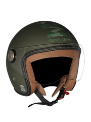 Royal Enfield Green Printed Open Face Helmet