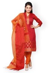 Vaamsi Red & Orange Chanderi Cotton Unstitched Dress Material