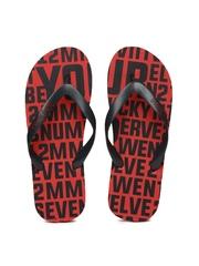 Being Human Red & Black Printed Flip-Flops