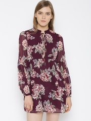 FOREVER 21 Women Burgundy Printed Tailored Dress