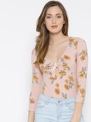 FOREVER 21 Pink Floral Print Bodysuit