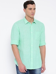Indian Terrain Men Mint Green Slim Fit Solid Linen Casual Shirt