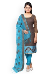 Vaamsi Brown & Turquoise Blue Chanderi Cotton Unstitched Dress Material