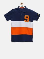 Ajile by Pantaloons Boys Navy & Orange Colourblocked Polo T-Shirt