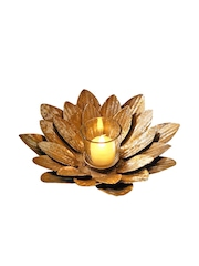 The Yellow Door Store Gold-Toned Floral Iron T-Light Candle Holder