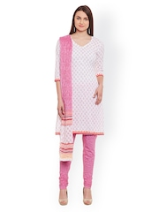 pinkshink White & Pink Printed Cotton Unstitched Dress Material