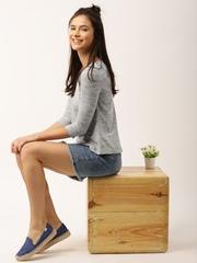 DressBerry Women Grey Melange Self-Design Top