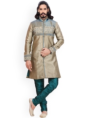 RG DESIGNERS Muted Gold-Toned & Green Embroidered Sherwani