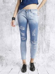 Roadster Women Blue Slim Fit Highly Distressed Jeans