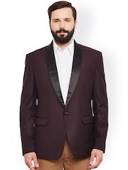 Alvin Kelly Maroon Single-Breasted Tuxedo Blazer