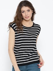 United Colors of Benetton Women Black Striped Printed Back Top