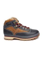 Timberland Men Brown & Navy Colourblocked Euro Hiker Waterproof Leather Boots