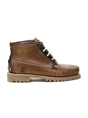 Timberland Men Brown Leather High-Top Flat Boots