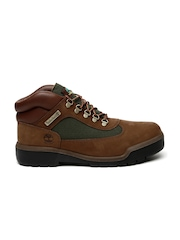 Timberland Men Brown Colourblocked Mid-Top Leather Flat Boots
