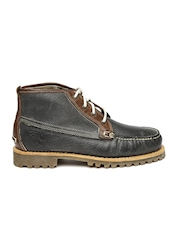 Timberland Men Grey Solid Leather Mid-Top Flat Boots