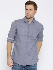 Wills Lifestyle Men Navy & White Slim Fit Checked Casual Shirt