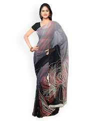 Vaamsi Grey & Black Ombre-Dyed Georgette Printed Saree